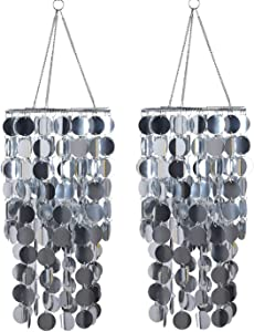 FlavorThings 2 Pcs Silver Bling Hanging Chandelier Great idea for Wedding Chandeliers Centerpieces Decorations and Any Event Party Decor (Silver-2pcs)