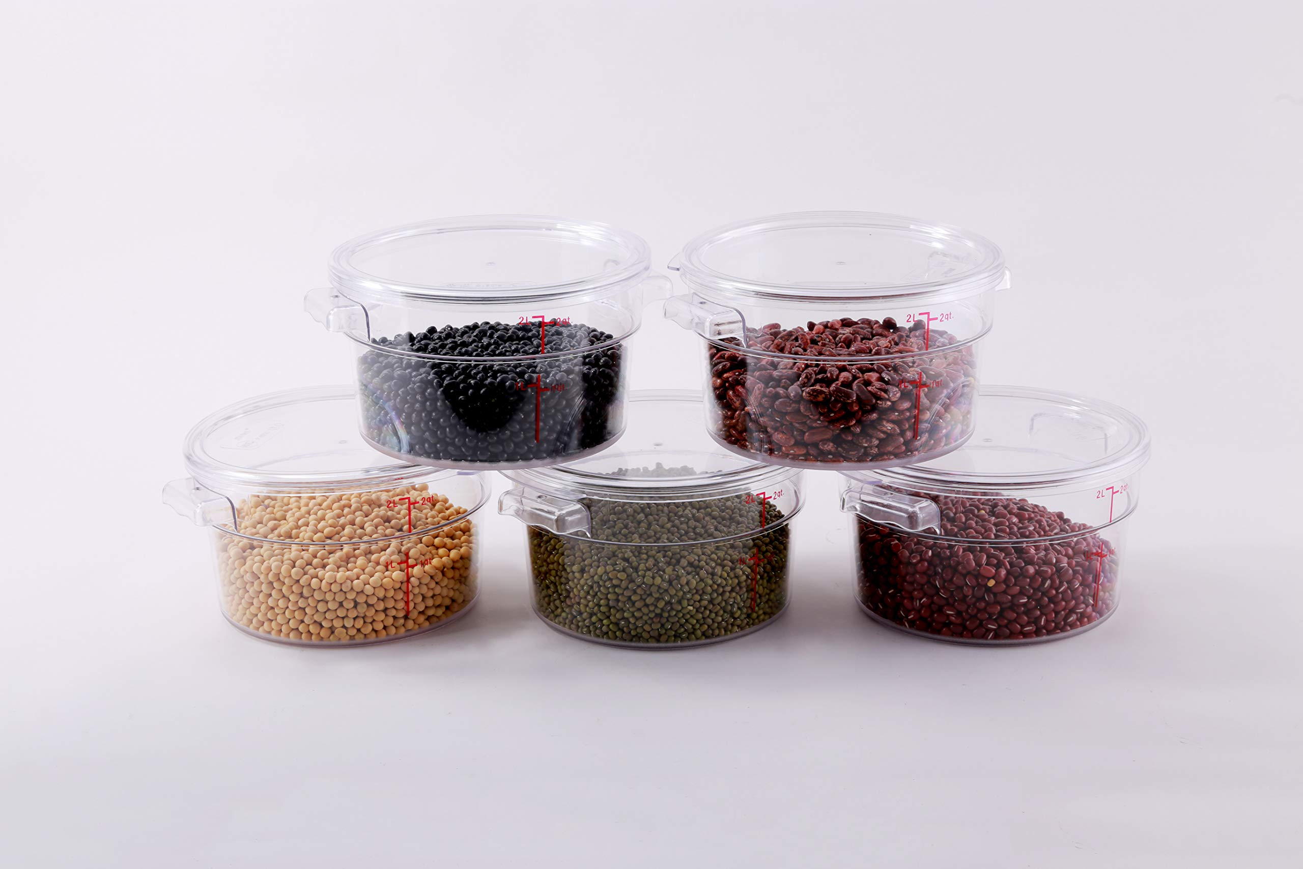 Hakka 2 Qt Commercial Grade Round Food Storage Containers with Lids,Polycarbonate,Clear - Case of 5 by HAKKA FOOD PROCESSING (Image #2)