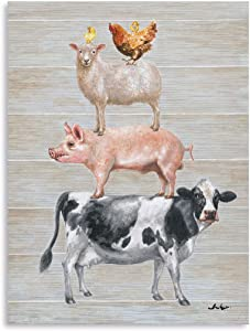 Farmhouse Wall Decor Canvas Print: Farm Animals Cow Pig Sheep and Rooster Sit on Top of Each Other Inspirational Posters for Kitchen Framed Ready to Hang (12