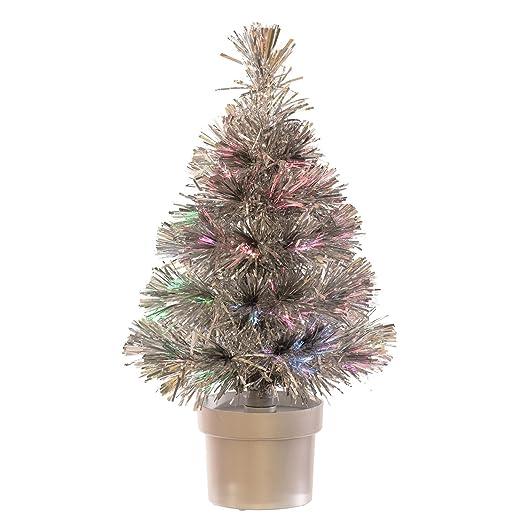 Mini USB Fibre Optic Christmas Tree : LED : 40cm Tall : Silver - Mini USB Fibre Optic Christmas Tree : LED : 40cm Tall : Silver