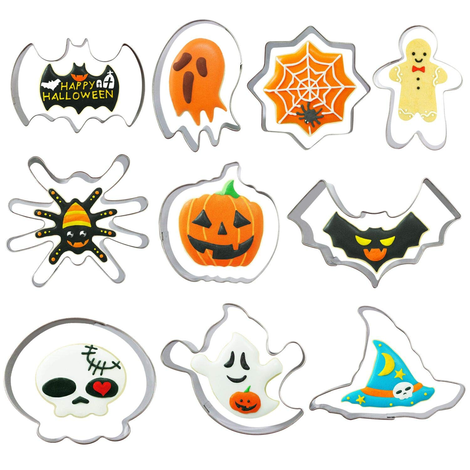 Halloween Cookie Cutters Set - 10 Piece - Pumpkin, Bat, Ghost, Witch Hat, Spider, Cobweb, Skull and Skeleton Shape