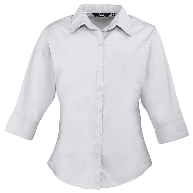 4365c3cdb67 Premier 3 4 Sleeve Poplin Blouse Plain Work Shirt (8) (Silver ...
