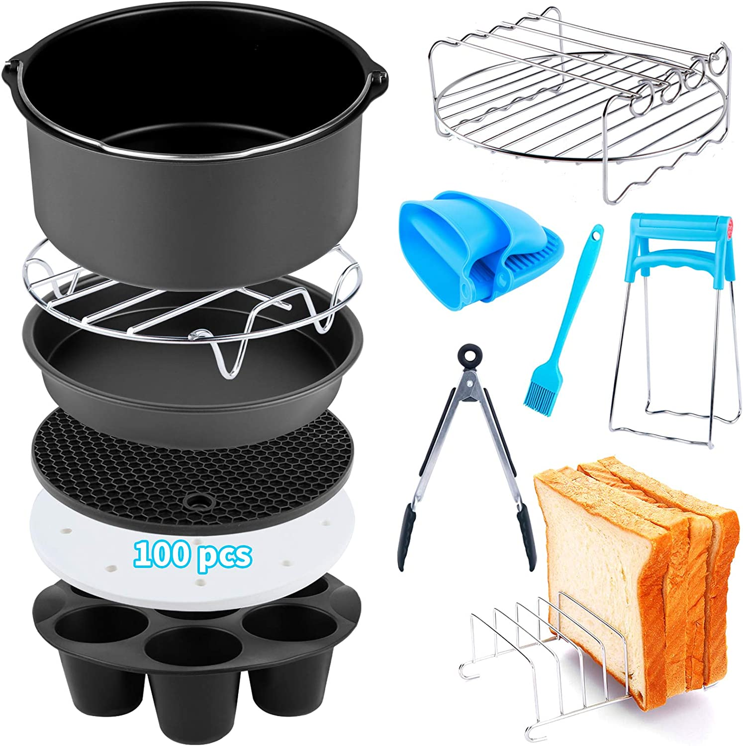 Air Fryer Accessories 12 PCS for Ninja Phillips Gowise Gourmia Dash Power XL Air Fryer, Fit 3.6-4.2-6.8QT Air Fryer with 8 Inch Cake Pan, Pizza Pan, Silicone Baking Cup, Skewer Rack, Parchment Paper