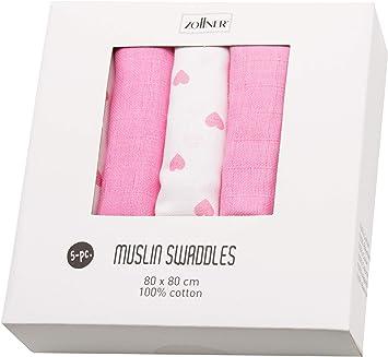 Zollner Paquete de 5 muselinas para bebé 100% algodón, 80x80 cm, corazones: Amazon.es: Bebé