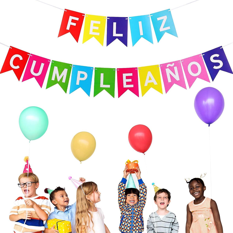 Boao Pancarta de Feliz Cumpleaños Guirnalda de Banderines de Cumpleaños Decoración para Fiesta de Cumpleaños Tema Mexicana (Colorido)