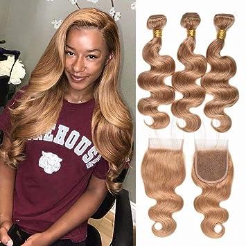 Honey Blonde Brazilian Body Wave Virgin Hair Weave 18 20 22 Bundles With Closure 18 Colored