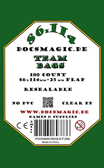 docsmagic.de 100 Team Bags - 86 x 114mm+25 mm Flap - Resealable