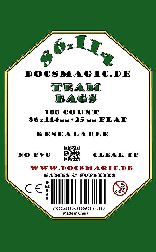docsmagic.de 100 Team Bags - 86 x 114mm+25 mm Flap - Resealable