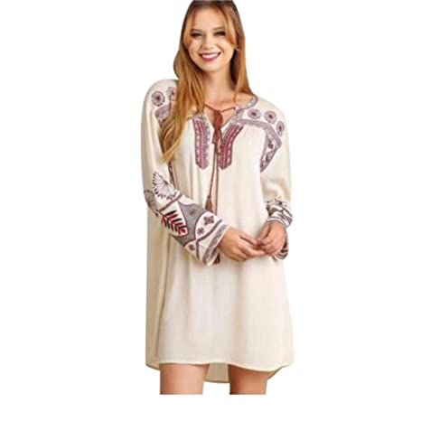 e1e46380d38 Umgee Boho Long Sleeve Dress Tassel Tie Aztec Embroidery Taupe Ivory Cream  V Neck at Amazon Women's Clothing store: