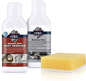 Stainless Steel Rust Cleaner, Remover and Protector Kits w/Sponge and Gloves