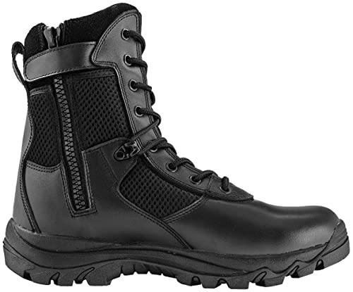 Maelstrom Men's LANDSHIP 8 Inch Military Tactical Duty Work Boot with Zipper,  Black, 10