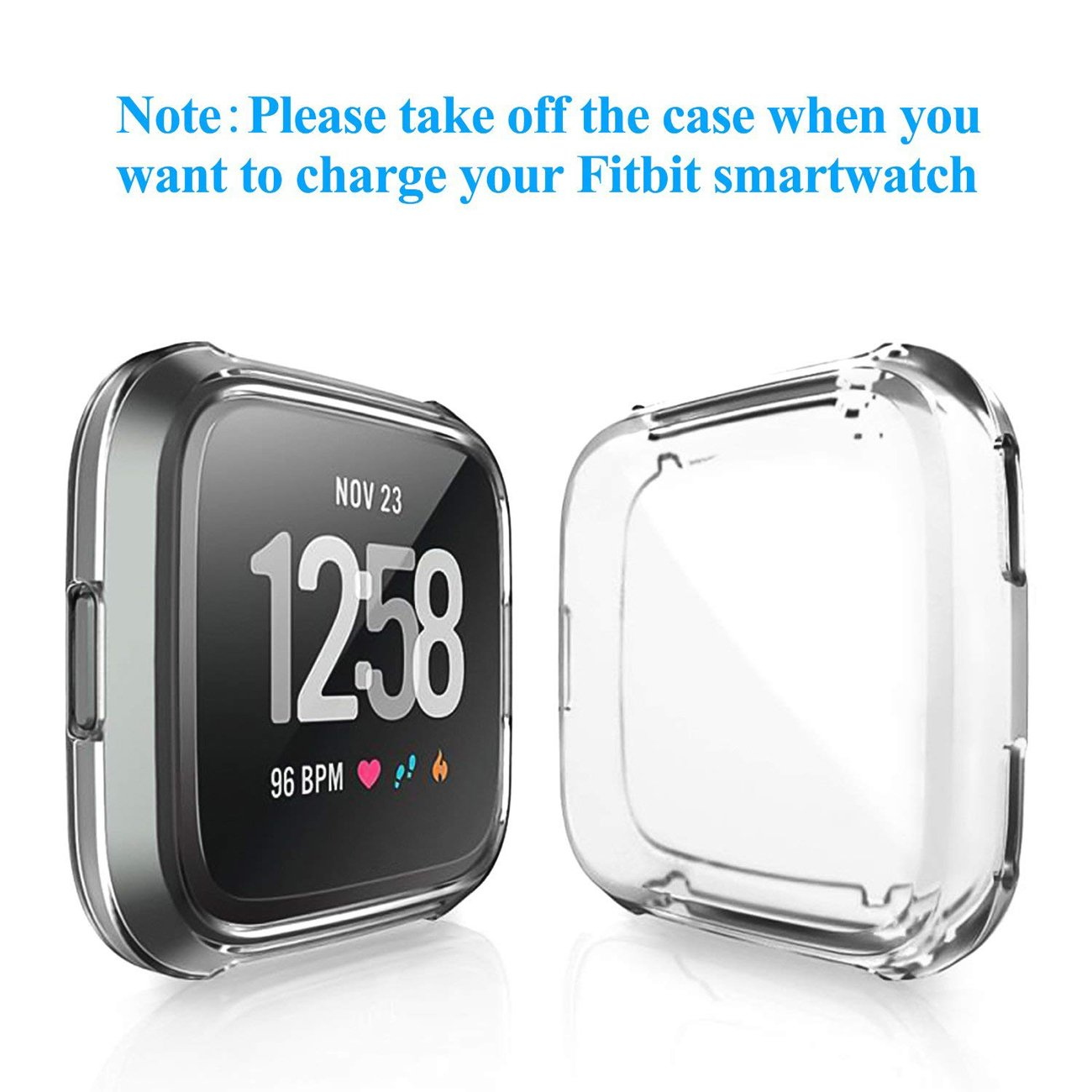 GerTong Soft Silicone TPU Full Cover Case For Fitbit Versa Ultra-thin Soft Plating TPU Protection For Fitbit Versa Protective Shell Frame for Fitbit Versa Smartwatch Clear by GerTong (Image #3)