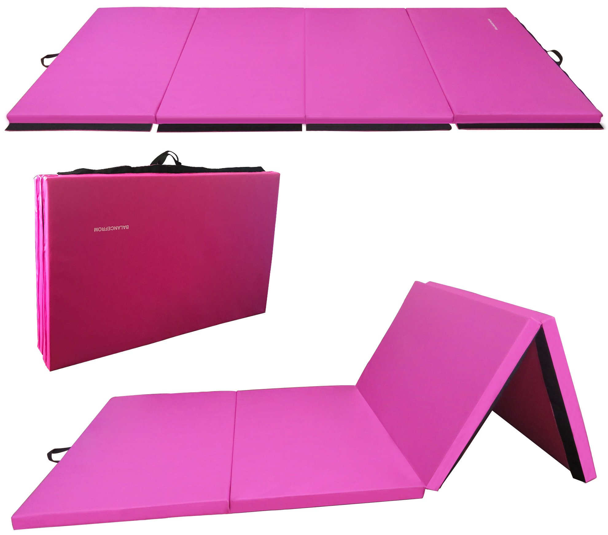 BalanceFrom BFGR-01PK All-Purpose Extra Thick High Density Anti-Tear Gymnastics Folding Exercise Aerobics Mats, 4' x 10' x 2''