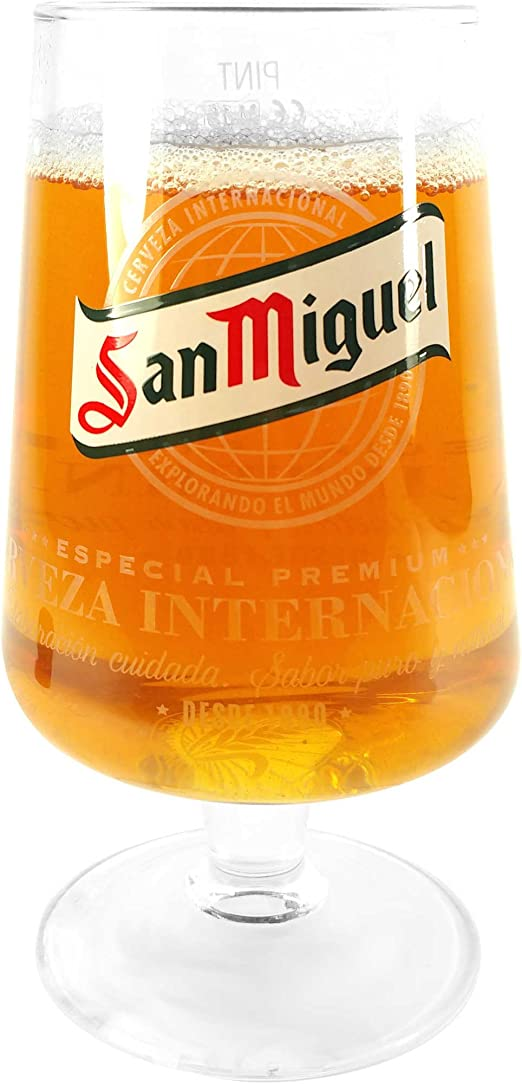TUFF LUV Original Pint Glass San Miguel Chalice Glass 568ml 20oz
