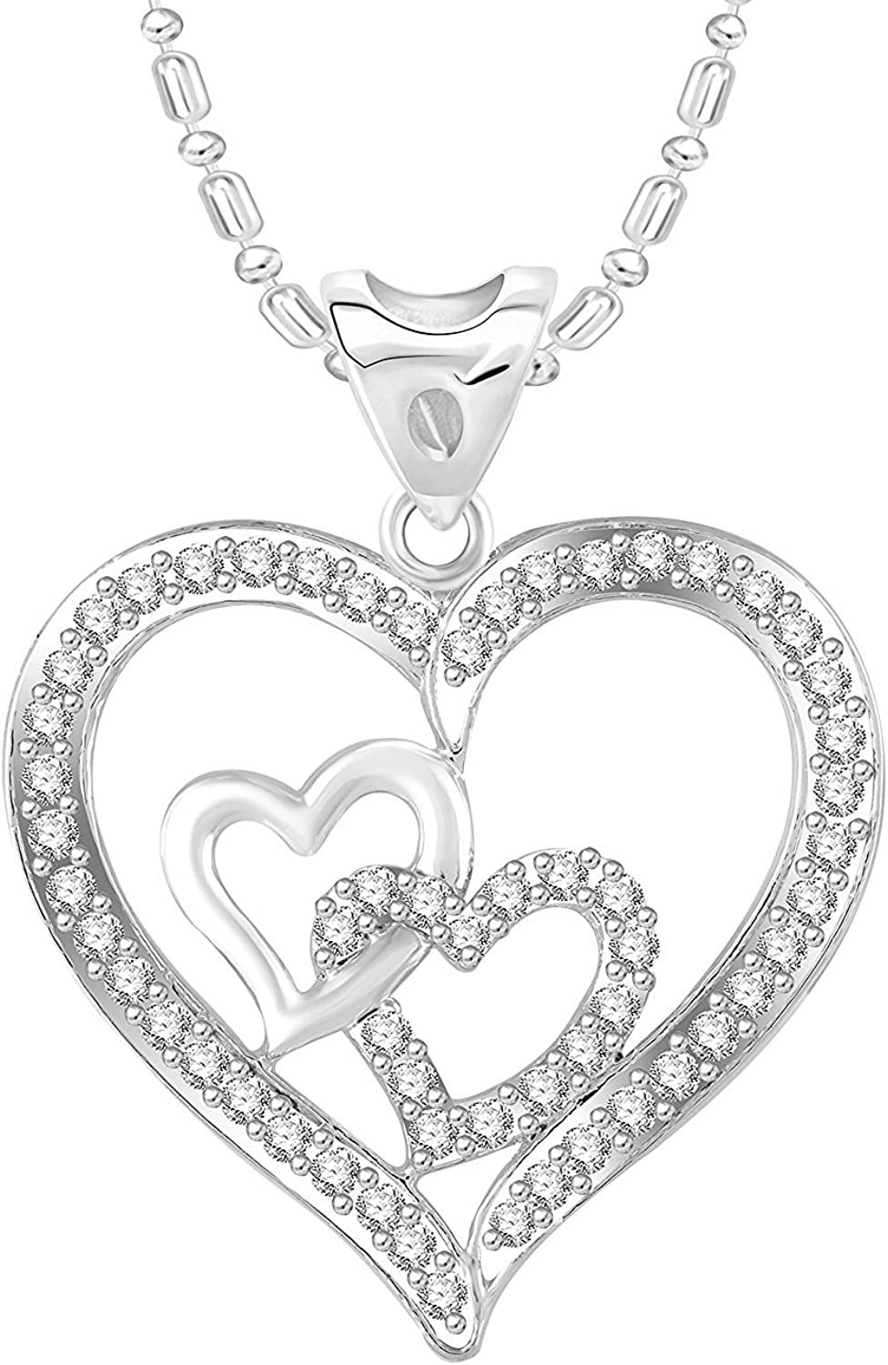 Ashley Jewels Simulated Diamond Studded Love Promise Heart Pendant Necklace in 14K Yellow Gold Plated With Box Chain