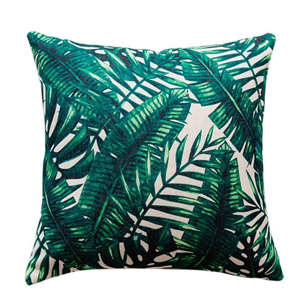 U-LOVE Tropical Leaves Throw Pillow Covers Cotton Linen Square Pillow Case 18 X 18 Inch,4 pack (Plants-1)