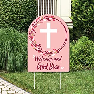 product image for Big Dot of Happiness Pink Elegant Cross - Party Decorations - Girl Religious Party Welcome Yard Sign