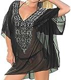 La Leela CHIFFON Embroidered Beachwear Swimsuit Swimwear Bikini Cover ups Tank TOP Blouse