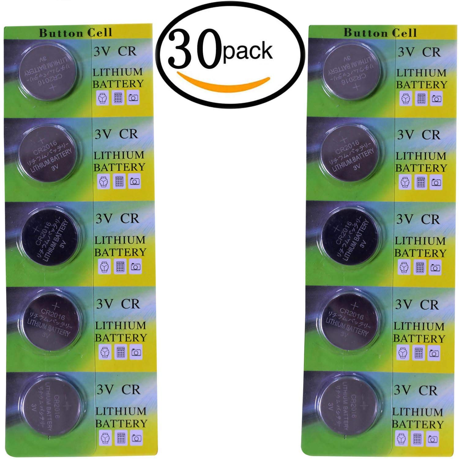 CR2016 Lithium 3V Coin Cell Battery CR 2016 Batteries 3 Volt Button Cell Lithium for Toys Calculators Watches Used in Most Electronic Devices (30 Pack)