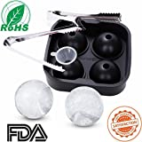 Ice Ball Sphere Cube Mould Maker – KitchCater – Silicone Ice Cubes Trays with Small Funnel and Ice Tongs for Whisky, Highball Cocktail, Milk, Juice and Chocolate (4 Cubes)