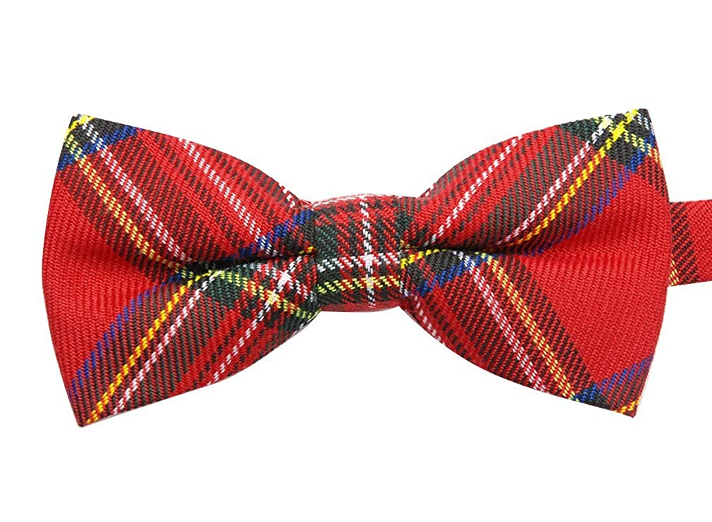 Uyoung Red Black Plaid Checkers Mens Pre-tied Bow Tie