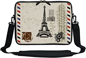 Meffort Inc 11.6 Inch Neoprene Laptop/Ultrabook/Chromebook Bag Carrying Sleeve with Hidden Handle and Adjustable Shoulder Strap (Paris Design)