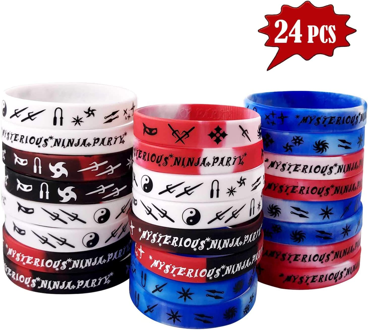 Diriway Ninja Master Silicone Bracelets Wristband-Ninja Party Special Recommended-Best for Ninja Warrior Birthday Party Theme! Interesting Silicone Bracelets Wristband (24 Groups-4 Colors)