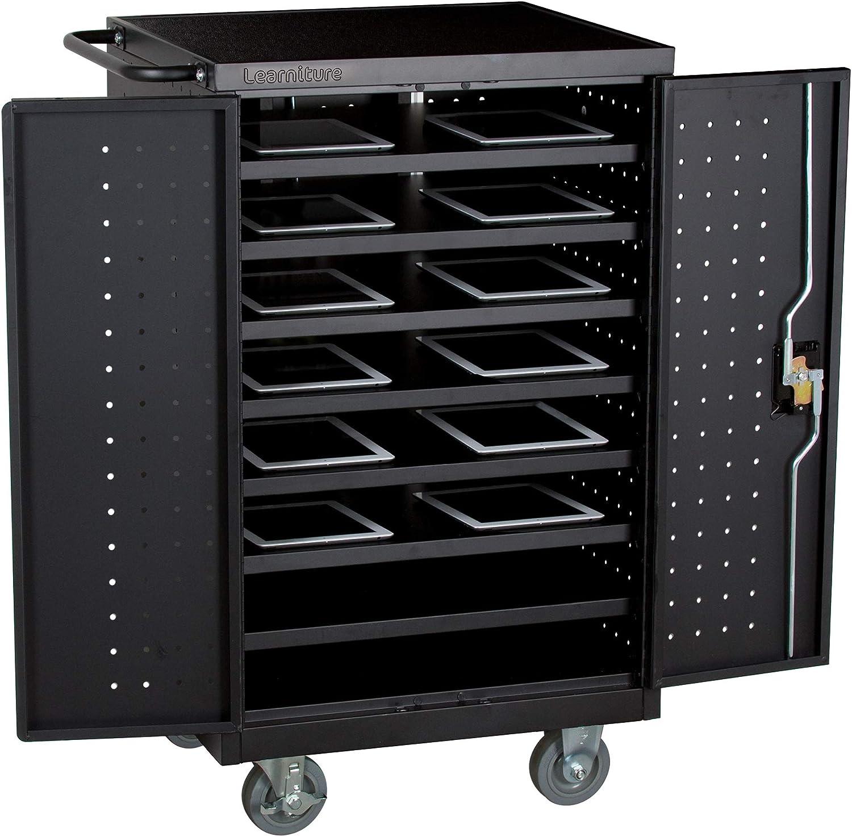 Learniture Structure Series 12-Laptop/Tablet Charging Cart - Assembled, Black (LNT-NOR1005CC-BK-SO)
