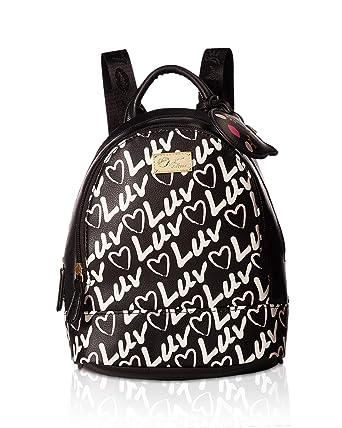 Luv Betsey Womens Jaz Mid Size PVC Backpack Black/Black One Size