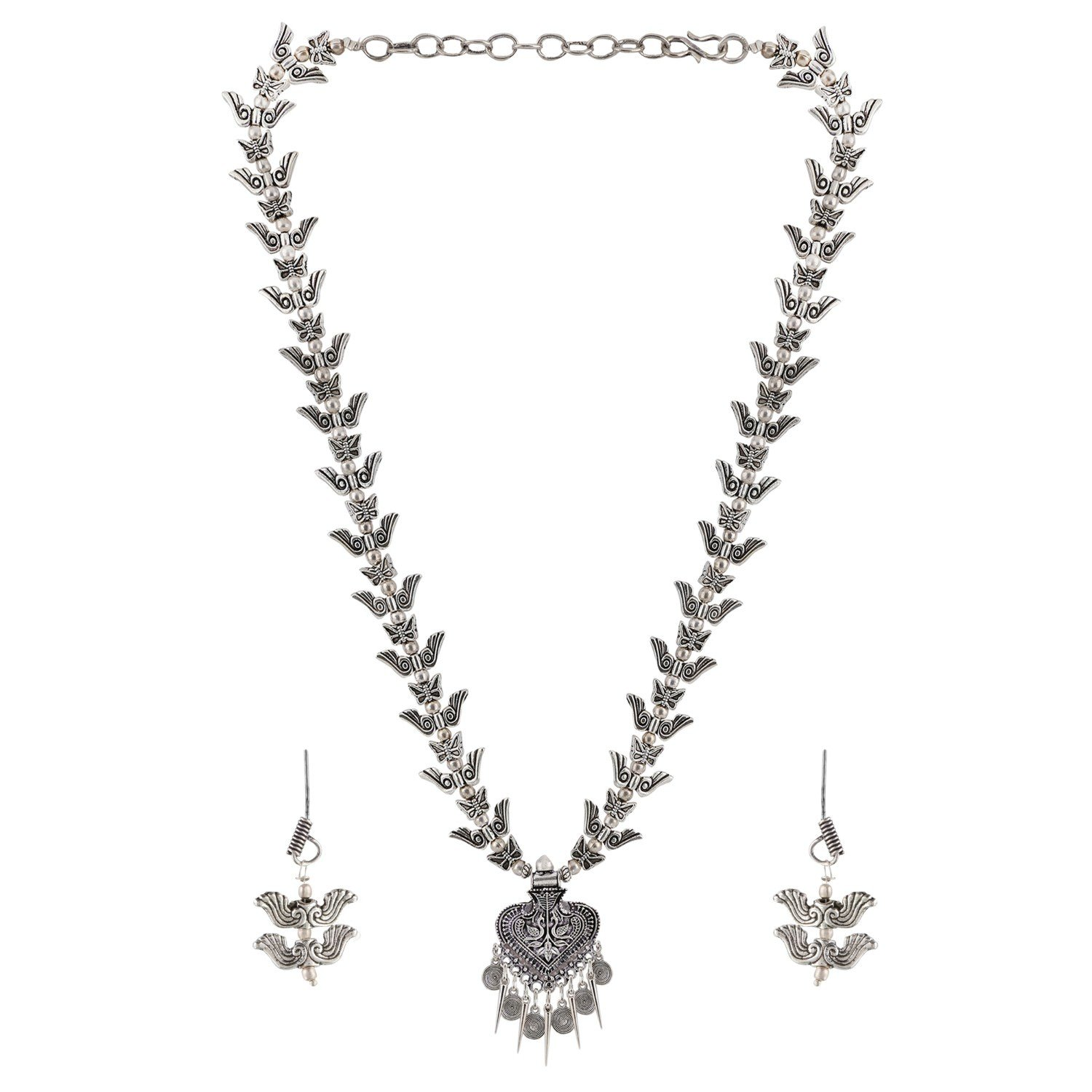Efulgenz Boho Vintage Antique Ethnic Gypsy Tribal Indian Oxidized Silver Beaded Floral Statement Necklace Earrings Jewelry Set