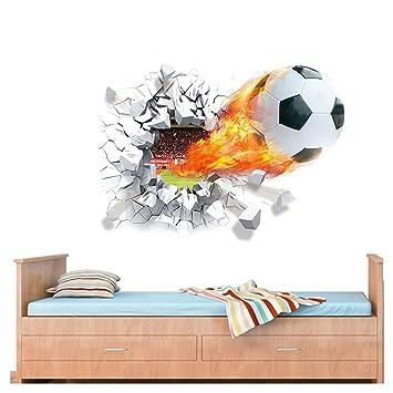 Wandaro Wandtattoo Fussball I 70 X 50 Cm I Jugendzimmer Jungen Kinderzimmer Ball Fussball Aufkleber Wandaufkleber Deko Wandsticker Wandtatoo Kinder