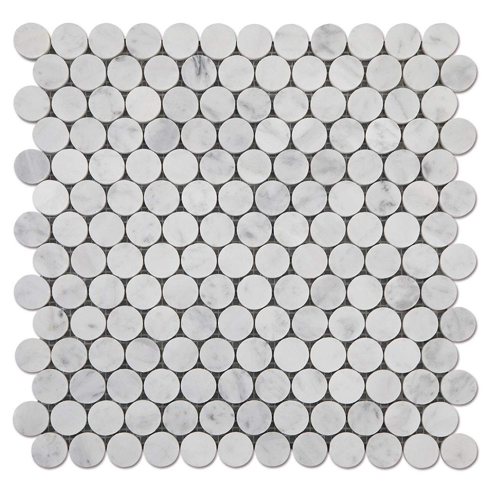 Diflart Carrara White Italian Bianco Carrera 1 inch Marble Penny Round Mosaic Tile Honed 5 Sheets/Box