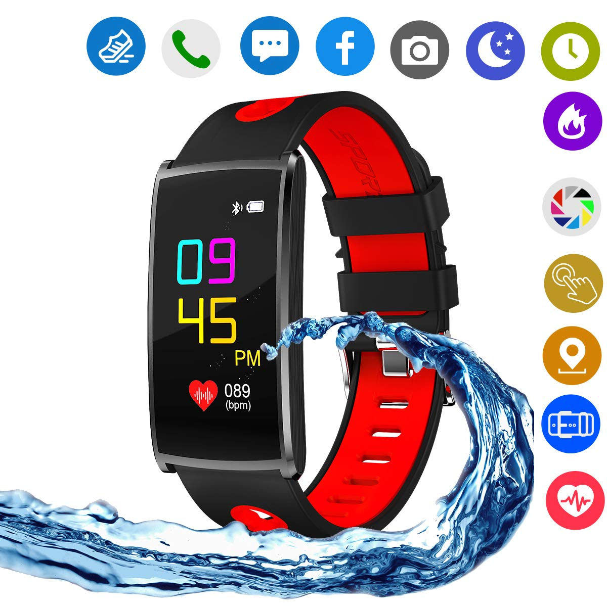 Hangang Smart Watch,Blue Tooth Touch Screen IP67 Life Waterproof Function/Sports Fitness Tracker for IOS and Android Phones. (red)