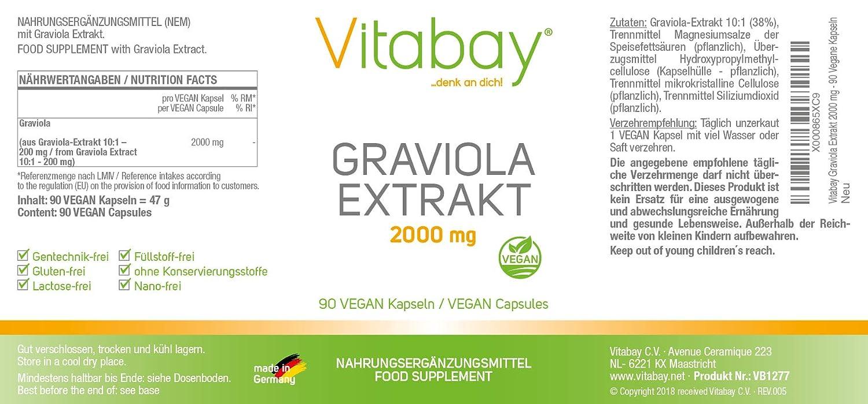 extracto de graviola 2000 mg - 90 cápsulas vegetarianas de extracto de polvo de fruta de Graviola Berry - La vida feliz - Buen humor - proporciona la ...