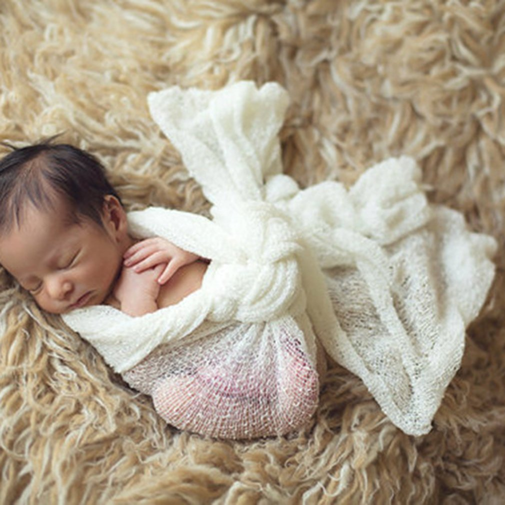 DDG EDMMS Newborn Baby Photography Props Blanket Rayon Stretch Knit Wraps 40 * 150cm for Baby DDGEDMMS