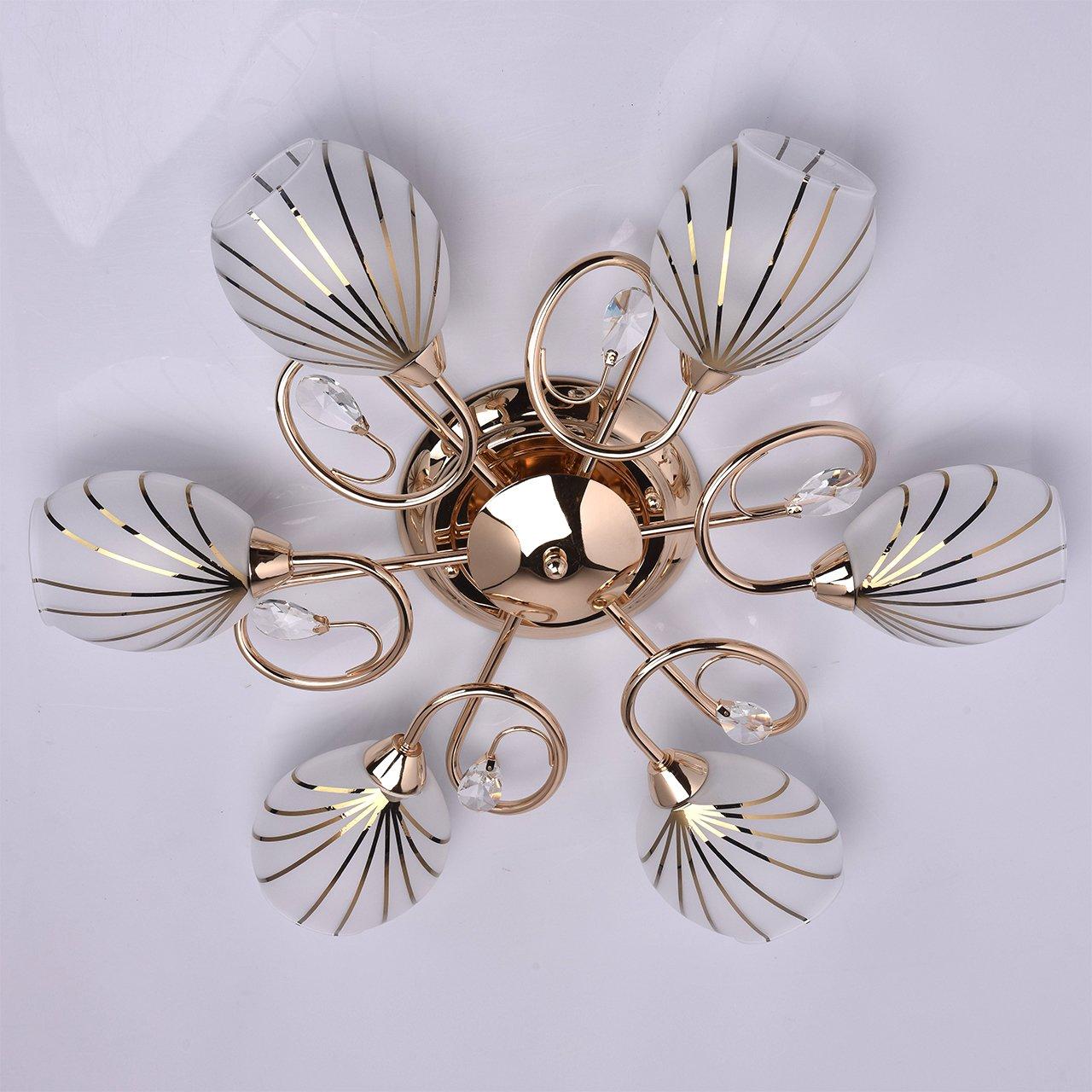 DeMarkt 267012803 Lampada da Soffitto Basso Moderna Colore Oro Lucido Decorato con Cristallo
