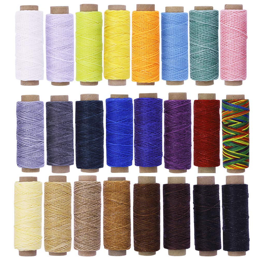 Assorted Color BUTUZE 24PCS 55Yards Leathercraft Waxed Thread-Practical Stitching Thread for Leather Craft DIY/Bookbinding/Shoe Repairing/Leather Projects