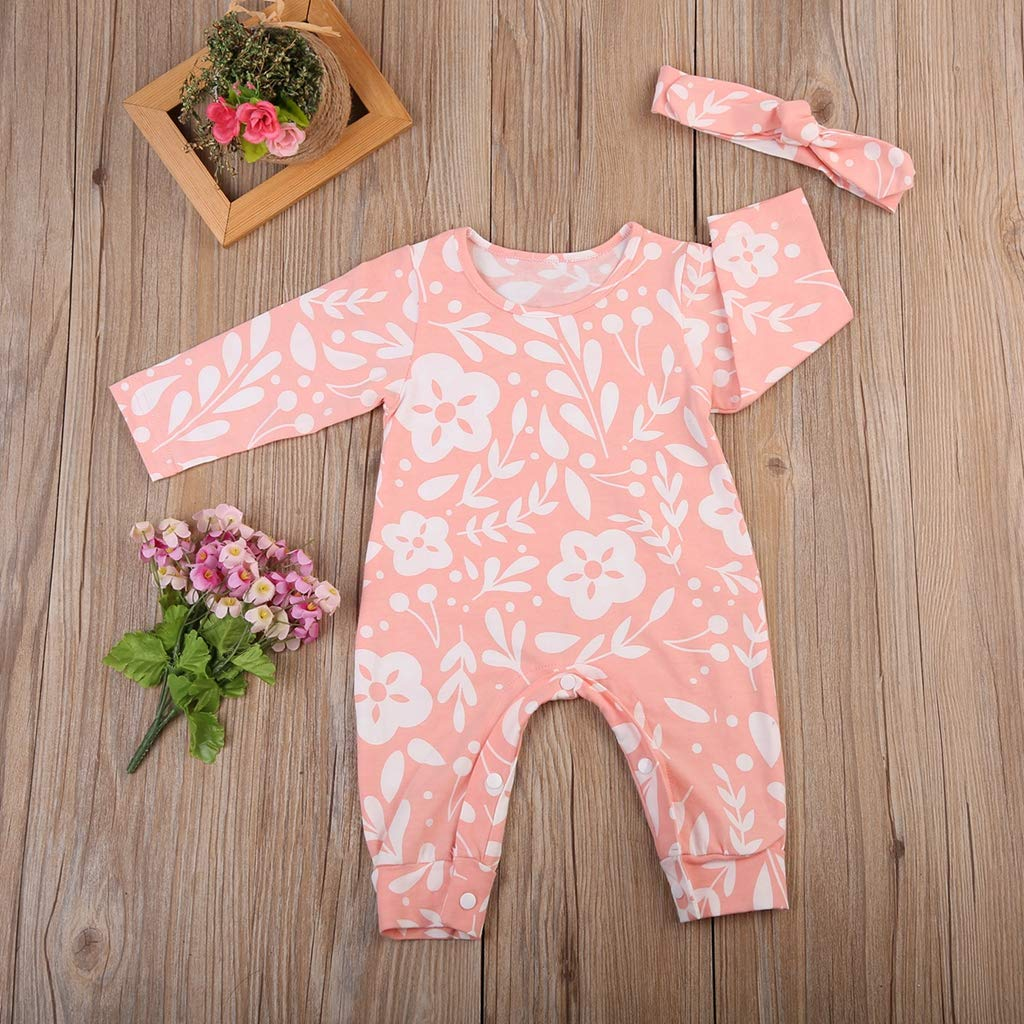 Fashion Popular Soft Comfort Fashion Newborn Baby Girls Floral Romper Jumpsuit Headband Outfits Clothes 0-2Y
