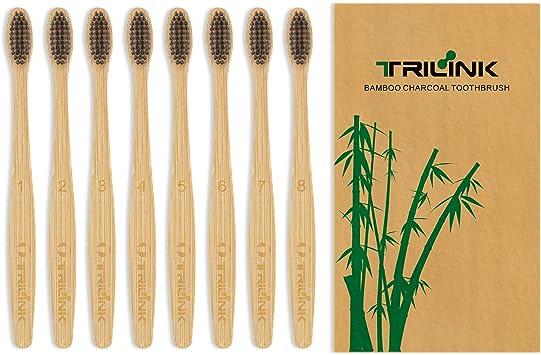 TRILINK Cepillos de Dientes de Bambú y Carbón – Cepillo Dental Para Adultos 100% Natural, Orgánico, Biodegradable y Ecológico con Cerdas Extrafinas Suaves y Libres de BPA (Paquete de 6): Amazon.es: Salud