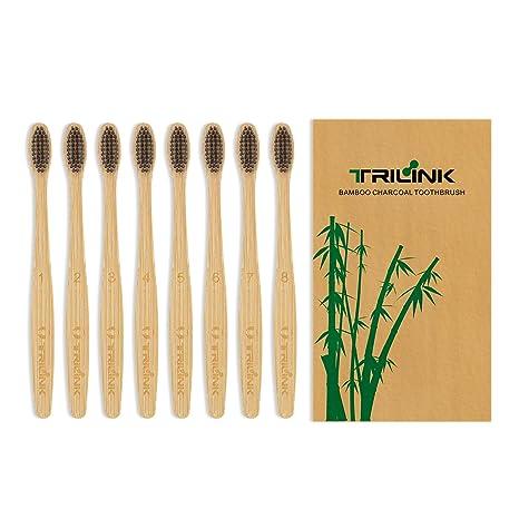 TriLink Cepillos de Dientes de Bambú y Carbón – Cepillo Dental Para Adultos 100% Natural, Orgánico, Biodegradable y Ecológico con Cerdas Extrafinas ...