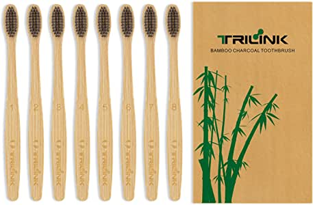 TriLink Natural Bamboo Charcoal Toothbrush - 100% Organic, Biodegradable and Eco-Friendly Toothbrush with Extra Slim Soft BPA-Free Bristles for Adult - Pack of 8