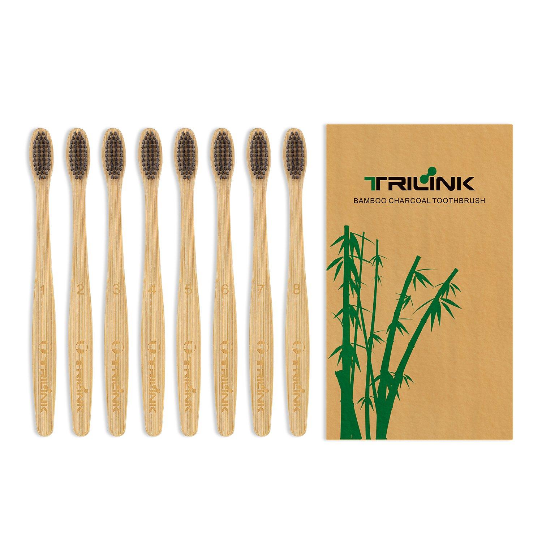 TriLink Cepillos de Dientes de Bambú y Carbón – Cepillo Dental Para Adultos 100% Natural