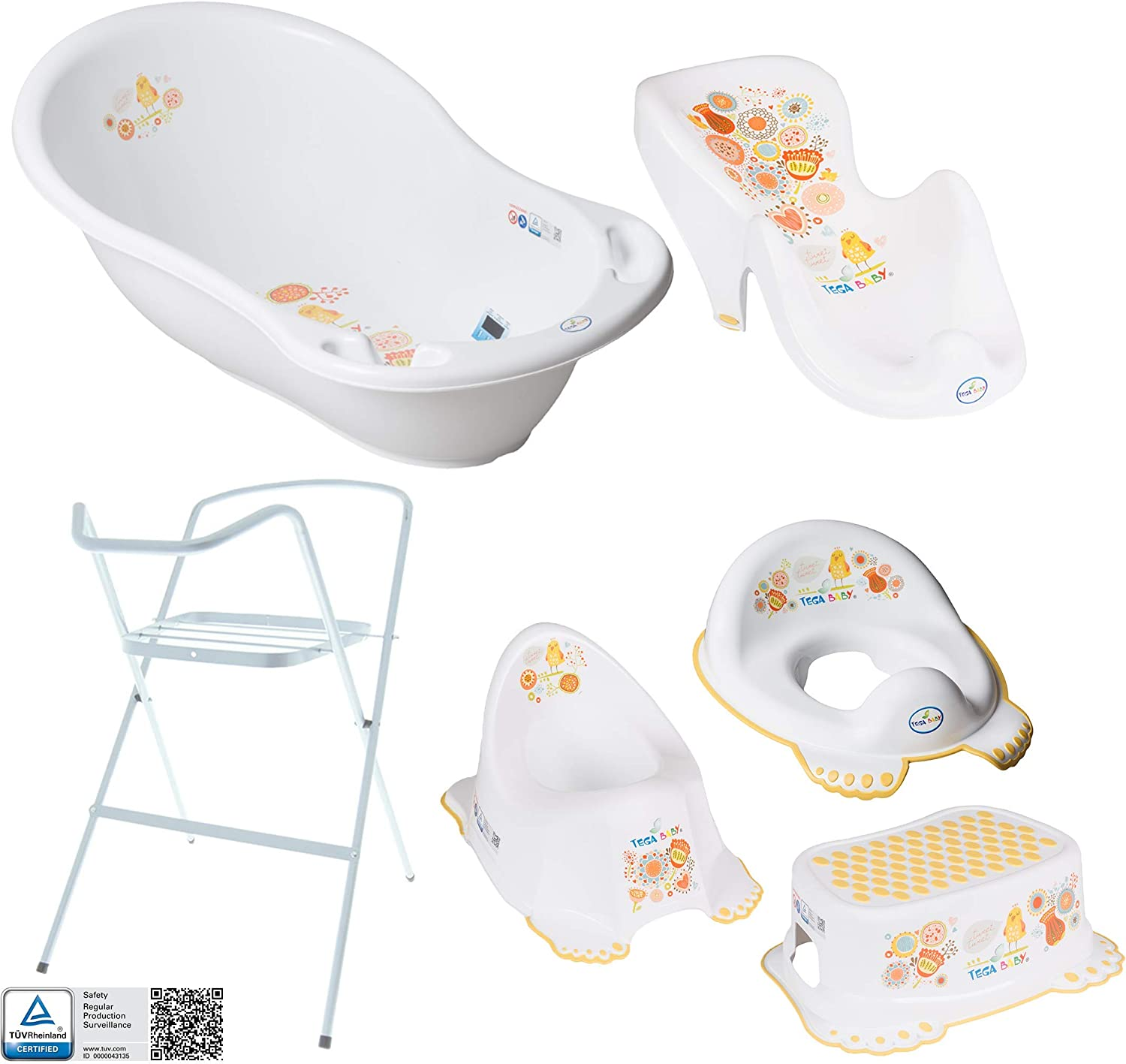 Stand Drain Bath seat Different Sets for Newborns with Baby bathtubs T/üv Rheinland Tested! Baby Bathtub with Frame and Bath seat