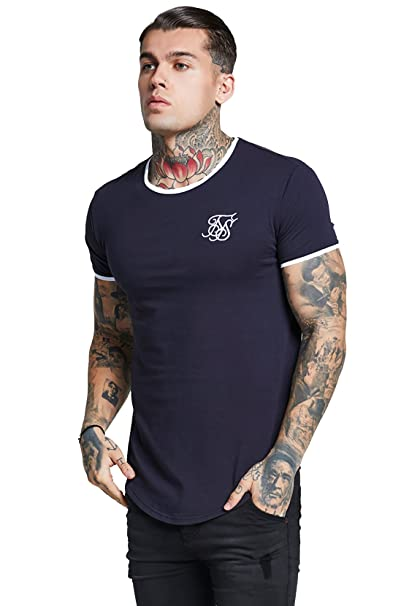 Sik Silk Hombre Camiseta Ringer Gym, Azul, Small