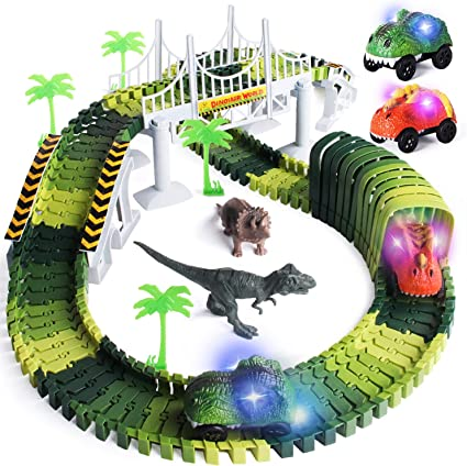 Dinosaur Toys Race Car Flexible Track Playset Toys for 3 4 5 6 Year /& Up Old Kids Boys Girls,120pcs Create A Dinosaur World Road Race,Flexible Track Playset with 2 Dinosaurs /& Car Toy