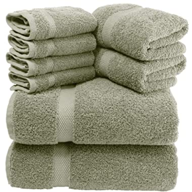 White Classic Luxury Green Bath Towel Set - Combed Cotton Hotel Quality Absorbent 8 Piece Towels   2 Bath Towels   2 Hand Towels   4 Washcloths [Worth $72.95] 8 Pack   Green