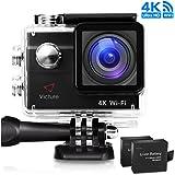 Victure Action Cam 4K WIFI Ultra HD 20MP Sport Camera Impermeabile Videocamera con Timelapse, Slow Motion 170° Grandangolare 2.0 Pollici due 1050mAh Batterie e Kit Accessori