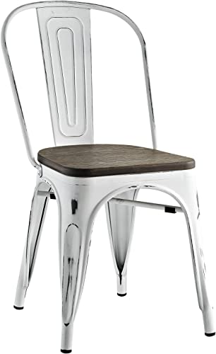 Modway EEI-2028-WHI Promenade Stackable Modern Aluminum Bistro Dining Side Chair