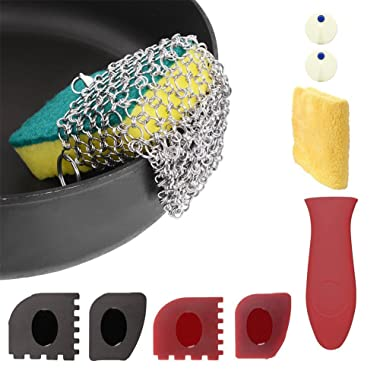 LIVEHITOP Cast Iron Cleaner with Wood Sponges Cast Iron Cleaning Kit Pan Scraper Plastic Set Tool and Silicone Hot Handle Holder for Home and Camping (Cast Iron Cleaner 2)