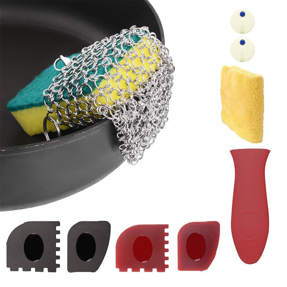 LIVEHITOP Cast Iron Cleaner with Wood Sponges Cast Iron Cleaning Kit Pan Scraper Plastic Set Tool and Silicone Hot Handle Holder for Home and Camping